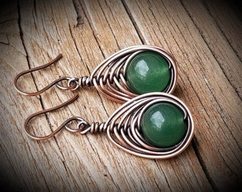 Aventurine herringbone copper wrapped earrings. BoHo style earrings Green earrings hand forged FREE SHIPPING