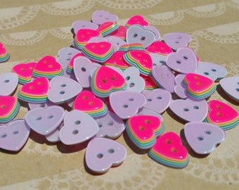 "Pink Heart Rainbow Buttons - Sewing Hearts Button Neon Pink Layered Rainbows - 11mm 1/2"" Wide - 115 Buttons - DESTASH SALE"