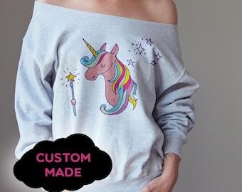 Unicornio de hombro suéter del hombro de hombro superior de hombro de gran tamaño suéter Slouchy suéter mujeres suéter sudadera