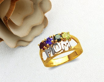 Mother's Day Gift 14K Real Solid Gold MOM Ring With Garnet Amethyst Emerald Peridot Color CZ Band Size 5 to 9