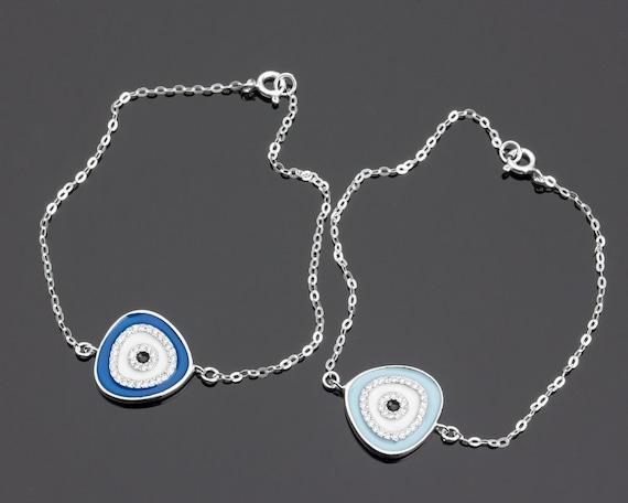 Sterling Silver Evil Eye bracelet Greek Jewelry Evil Eye