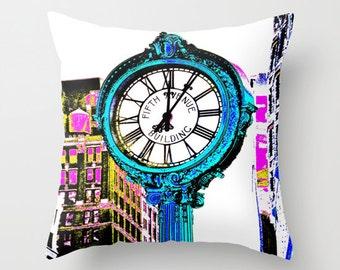 Fifth Avenue Building Clock New York Throw Pillow, 16x16, 18x18, 20x20, FAB Decorative Pillow, Urban Cushion, Manhattan Pillow,Pixels Pillow