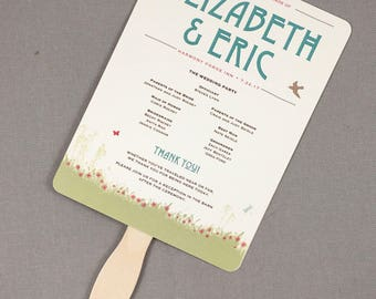 Rustic Craftsman Wildflower Garden Wedding Ceremony Program Fans // 6x8 Program Fans - TE1