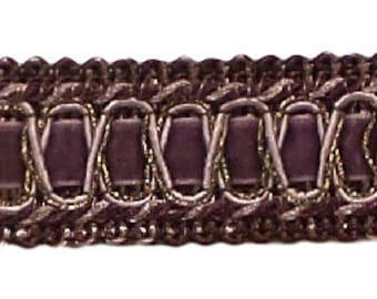 Vintage 1 Inch (2.5cm) Wide Dusty Mauve, Dark Plumgimp Braid Trim - Style# 100hg, Color Luscious Lavenders 2927 (sold by The Yard)