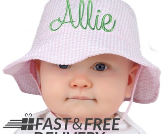 PERSONALIZED Pink & White Seersucker Personalized Sun Hat for Baby and Toddler Girls- Name or Monogram - Baby Girl Sun Hat - Toddler Sun Hat