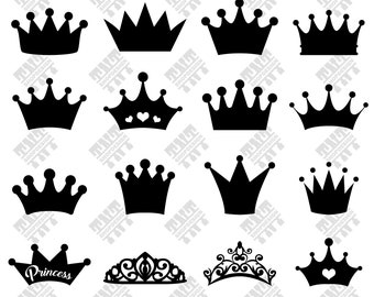 Crown svg - Crown vector - Crown silhouette - Crown bundle digital clipart for Print, Design or more, files download svg, png, dxf