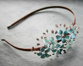 Alice band with little flowers and leaves in light blue and grey, wedding, bridal, flower girls, bridesmaids, headband, hair band