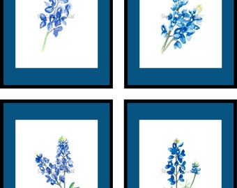 Watercolor Bluebonnets Printable Wall Art Set