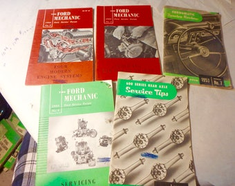 5 vintage Ford Mechanic & Service tips booklets 1950's Fordomatic, carburetors etc.
