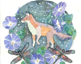 Fox and Dragonflies Watercolor Print Spiritual Magical Symbolic Intuitive Art
