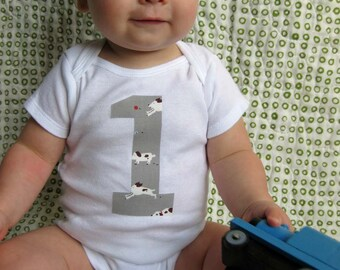 First Birthday - Birthday Bodysuit - Baby Boy One Year Old bodysuit - Doggies on Grey - Aneela Hoey