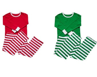 Adult Stripe Christmas Pajamas- Red or Green with or without Monogram