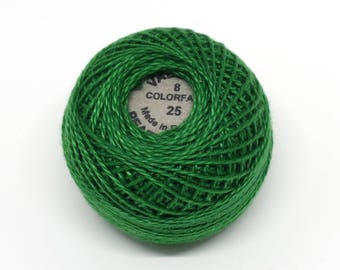 Valdani Pearl Cotton Thread Size 8 Solid: #25 Christmas Green