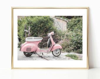 Pink Wall Art // Europe Prints // Moped Wall Art // Spain Prints // Gallery Wall Decor // Europe Photography // Moped Art // Bestseller
