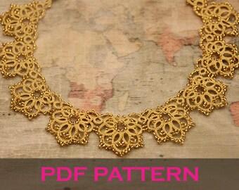 Tatting lace necklace pdf pattern (Royal Sunrise)