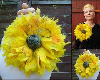 gelb, Filz Broschen, übergroßen Blumenbrosche, Filz-Blume Korsage, floral, Schal, Pin, Handarbeit, Wolle, Lagenlook, Geschenk für Sie
