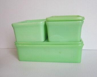 Vintage McKee Jadeite Set of Refrigerator Dishes Skokie Green