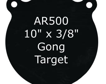 """10"""" x 3/8"""" AR500 Steel Shooting Targets Gong Style"""