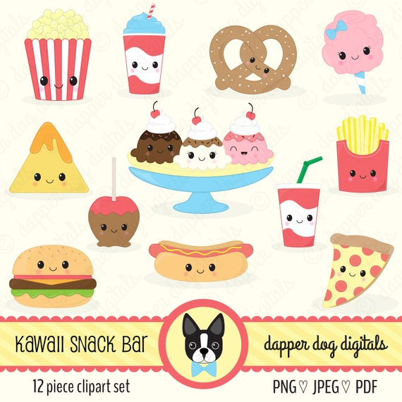 Kawaii Snack Food Clipart Pack Commercial Use Vector