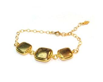 Fools Gold Square Stones Bracelet