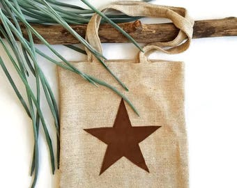 Totebag with star, tote bag with star, Brown Totebag, brown bag with star, Brown shopper with star, Brown bag with star, brown bag.