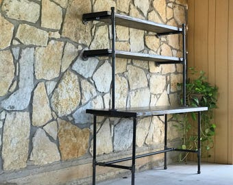 Industrial Pipe Desk with Shelving Unit
