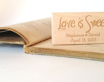 """Love is Sweet. Custom Stamp. 1.5""""x3"""" Wedding Favors. Made to Order"""