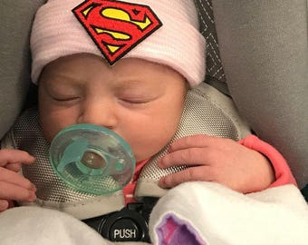 Superman hospital hat! Super hero beanie, Pink  striped beanie, coming home hat, super man!