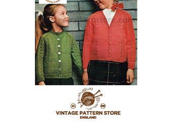 "Girls, round and V neck, 1980s, eyelet lace panel, raglan sleeve cardigan - 22"" - 26"" chest - Vintage PDF Knitting Pattern 463"