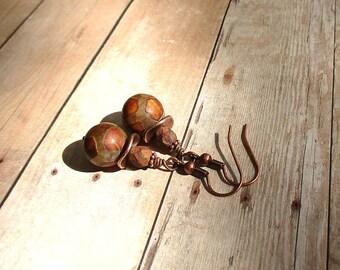 Tibetan Dzi Agate, Czech Glass, Antique Copper Earrings - Boho Earrings
