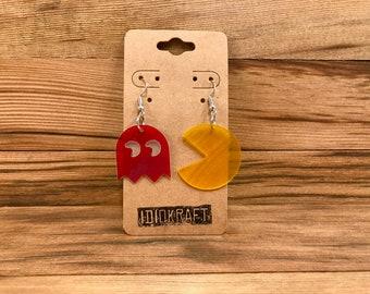 Pac-Man and Ghost Vintage Vinyl Earrings