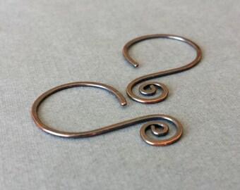Rustic Copper Hoop Ear Wires, Interchangeable Swirly Swingers, Handmade Earring Findings