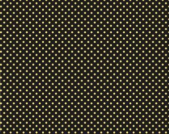 Wilmington Prints Follow the Sun Sunflower Yellow Black Polka Dot Fabric 1409-86434 BTY