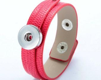 Red Leather Snap Bracelet, Faux Snake Skin Texture, Snap Charm Bracelet, Snap Jewelry Bracelet