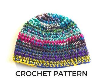 Crochet Pattern- Scrap Yarn Beanie Crochet Pattern- Worsted Weight Yarn- Stash Buster- Instant Download