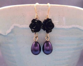 Flower Earrings, Purple Pearls and Black Rose Earrings, Gold Dangle Earrings, FREE Shipping U.S.