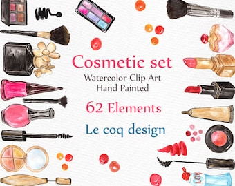 "Watercolor Makeup Clipart: ""COSMETIC CLIP ART"" makeup set clip art Hand painted clipart diy elements Nail polish Lipstic perfume eyeshadow"