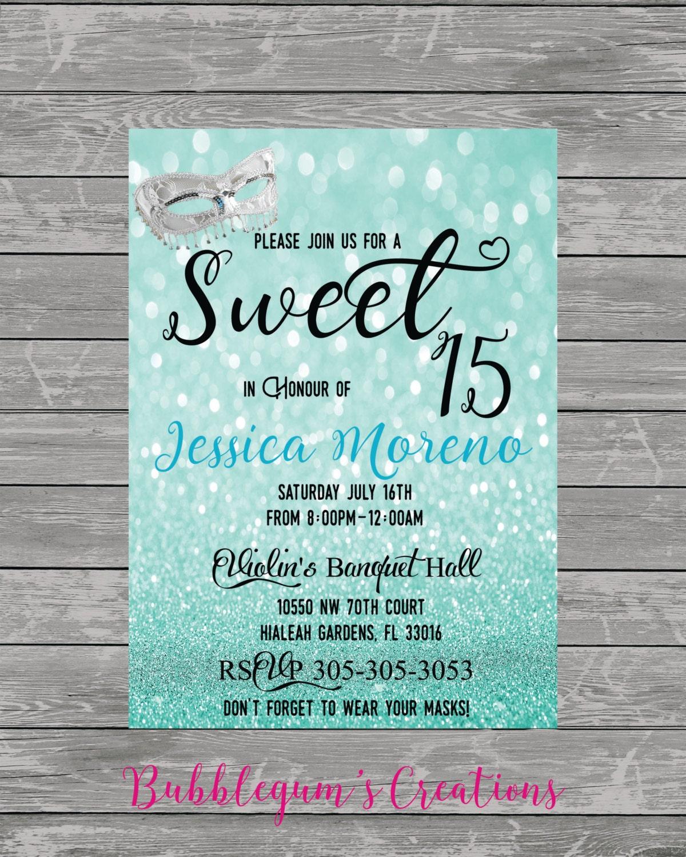 sweet 15 sweet 16 quinces invitation quinceanera invite