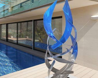 "Contemporary Modern Abstract Metal Indoor Outdoor Sculpture Blue ""Tempest"" by Dustin Miller"