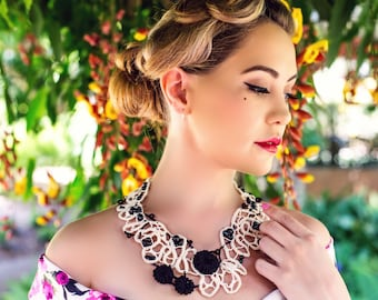 Beaded Black and Beige Contemporary Lace Jewellery