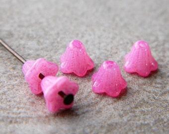 Hot Pink Flower Czech Glass Beads, Baby Bell Flower Beads, Opal Hot Pink, 6x5mm (50pcs) NEW