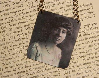 Feminist necklace Jeannette Rankin Womens History jewelry mixed media jewelry