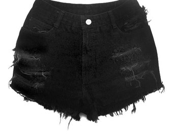 High Waisted Black Denim Shorts - Moderate Shredding - Black Jean Shorts - Plus thru Petite Size
