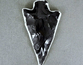 Black Obsidian Arrowhead Pendant Charm with Sterling Silver Electroplated Edge-- LARGE Obsidian Arrowhead Pendant (S76B1)