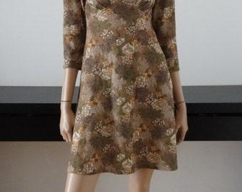 vintage khaki/floral mini mod dress 34 - uk 6 - us size 2