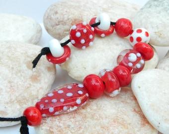 Red & White Lampwork Bead Set SRA
