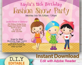 EDITABLE - Fashion Show Party! Do-it-Yourself Invitation, Glam, Fashion or Dress-up Party Instant Download. Edit with Adobe Reader.