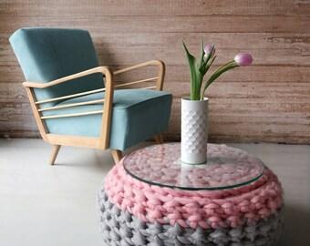 SALE!Chunky crochet pouf, knitted pouffe, knitted pouf ottoman, CHUNKY knit pouffe, giant loop pouf, chunky crochet pouf, floor pillow,