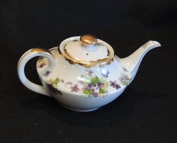 Vintage Porcelain Teapot.. Violets & Gold Trim.. Norcrest Fine China