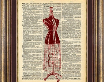 Unique gift Dressmaker Dummy Dictionary page art print book page art print up cycled
